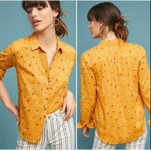 Anthropologie Maeve yellow Calico rose blouse